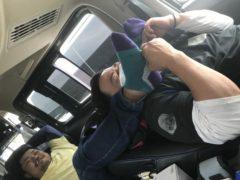車の中でお昼寝